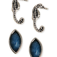 Lucky Brand Earrings Set, Silver-Tone Seahorse and Blue Bead Stud Earrings - All Fashion Jewelry - Jewelry & Watches - Macy's