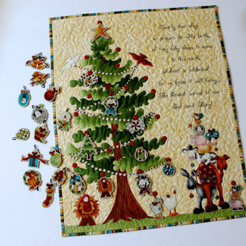 Advent Calendar - Quilted Religious Nativity - Wall Hanging Christmas Tree - Whimsical Baby Jesus - Childrens Activity Panel - Sally Manke