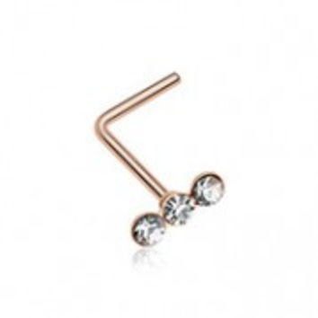 Rose Gold Triple Linear Gem L-Shaped Nose Ring