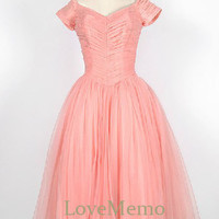 Vintage pink/blush pleated A-line chiffon/organza custom made tea-length bridesmaid dress