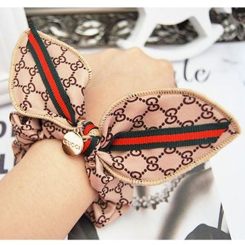 ONETOW GUCCI classic red and green striped rabbit ear headband Mawei headdress hair ring Dark coffee