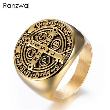 Ranzwal 316L Stainless Steel Rings for Men Punk Gothic Cross of St. Benedict Ring Biker Jewelry US SIZE 8~13 MRI014