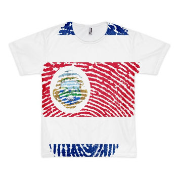 Costa Rican Fingerprint Flag Short Sleeve American Apparel T-Shirt