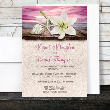 Beach Reception Only Invitations - Lily Seashells Sand Magenta Pink Purple Beige Rustic Wood Tropical Destination Seaside Wedding - Printed