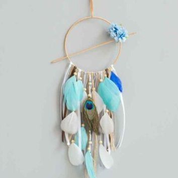 CREYXF7 Creative blue dream dream catcher ornaments Indian style feather home car hanging Amazon explosions