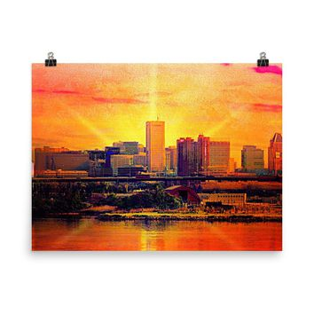 Baltimore Skyline at Dawn from Port Covington, Limited Edition, Museum Quality Poster Print