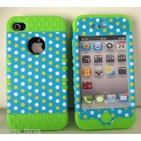 iPhone 4 4S Case Heavy Duty ishield Hybrid Snap On Polka Dots on Light Blue