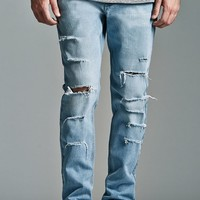 Bullhead Denim Co. Light Ripped Skinny Jeans - Mens Jeans - Blue