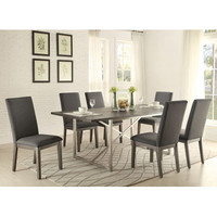 Homelegance Fulton Dining Table, Stainless Steel Bse In Weathered Grey Wood
