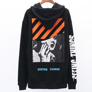 OFF-WHITE autumn new couple models Marilyn Monroe print plus velvet hoodie sweater Black