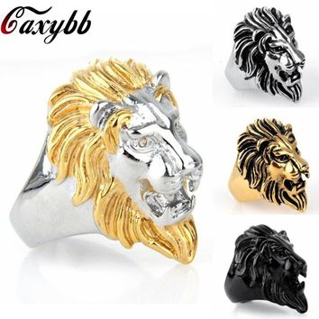 Stainless Steel Silver&Gold Color Lion Head Ring for Men Punk Rock Jewelry 316L Steel Men's Ring Party Accessories Anillo Bijoux