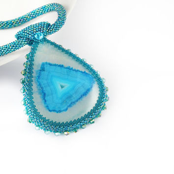 Turquoise Agate Stone Beads Beadwork