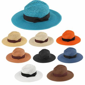 women's classic panama hats with bow accent band Case of 12