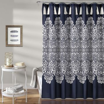Mandala Medallion Navy Boho Tassel Shower Curtain