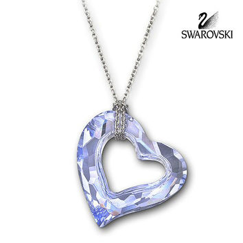 Swarovski Crystal LOVEHEART Provence Lavender Small Pendant Necklace #5187363