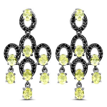 7.13 Carat Genuine Peridot & Black Spinel .925 Sterling Silver Earrings