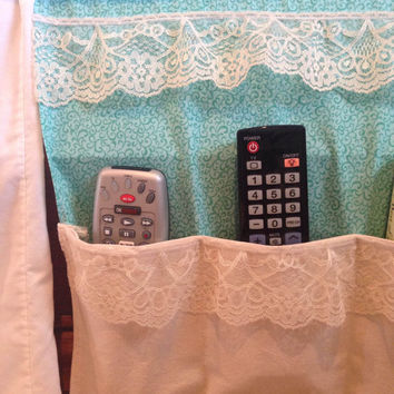 Shabby chic bed caddy, Bed Caddy, Bed organizer, Dorm organizer, bedside caddy
