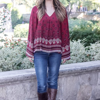 Opposites Attract Burgundy Print Top
