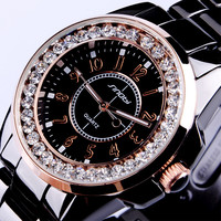 New SINOBI Bling Diamond Rhinestone Luxury Ceramic-White Style Ladies Dress Watch Women Fashion Wristwatch Relogio Feminino Gift