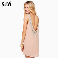 Women Dress Sexy Backless with Lace Design Mini Dresses Tank Sleeve Pink and White Summer Fashion Hot Sell = 1667722116