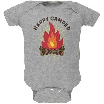Hiking Happy Camper Campfire Soft Baby One Piece