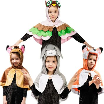 Kids Mascot Animal Costume Fox&Owl&Rabbit&Bambi Hooded Cloak for Little Baby Fancy Dress Christmas Cosplay Toddler Cape Clothes