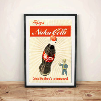 Fallout 4 Enjoy a Nuka-Cola Poster Vault Boy Cosplay Prop Video Game Framed Art Gift Xbox PS4 PC Fans Vintage Ad Free Shipping