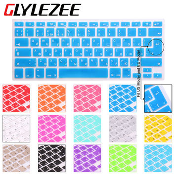 Glylezee US/EU Common Russian Language Letter Silicone Keyboard Cover Sticker For Macbook Air Pro 13 15 17 Retina Protector Film