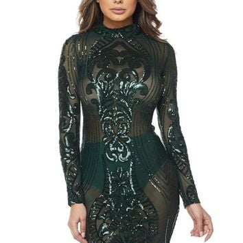 Kerr Sequin Semi-Sheer Dress