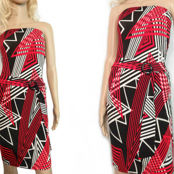 Geometric Sizzle Dress / Vintage Strapless / Red, White, and Black / Sexy Stripe and Zigzag / Small Size Dress