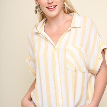Striped Collared Button Down Short Sleeve Top