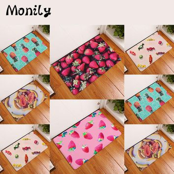 Monily Anti-Slip Waterproof Door Mat Pineapple Strawberry Candy Carpets Bedroom Rugs Decorative Stair Mats Home Decor Crafts