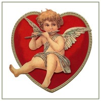 Vintage Valentine Cupid Playing Flute in Heart Counted Cross Stitch Pattern