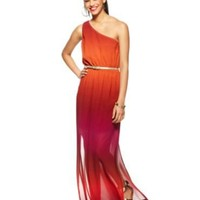 Bar III Dress, One-Shoulder Ombre Belted Maxi - Womens Dresses - Macy's
