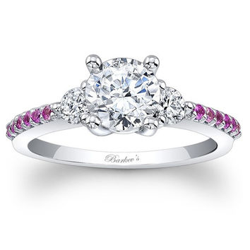 Barkev's Three Stone Pink Sapphire Diamond Engagement Ring