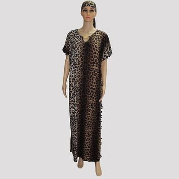 2017 Fashion african clothing plus size dress leopard print mama big dress maxi long dress sexy oversized femmes vistidos