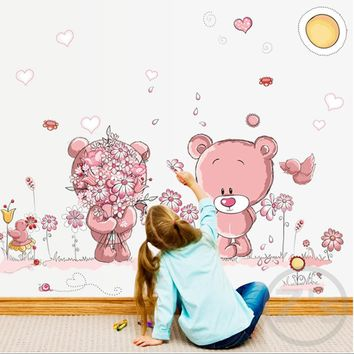Zs Sticker Cute Pink Bears Wall Stickers for Kids Room Home Decor Nursery Wall Decal Children Baby House Mural