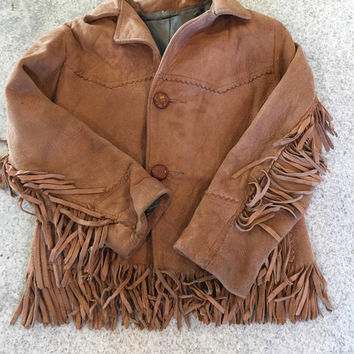 Childs Buckskin Jacket, With Fringe, Leather Suede Coat, Hand made