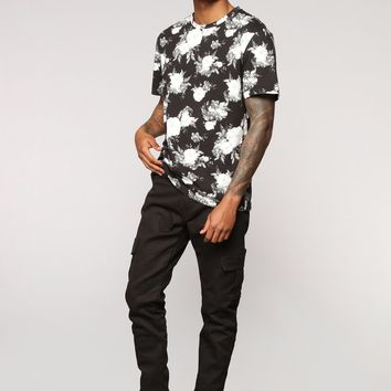 Tinie Short Sleeve Crew Neck Tee - Black/White