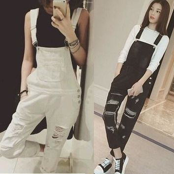 Black White Solid Denim Women Rompers Womens Jumpsuit Body Feminino Casual Bodysuit Overalls Women Ripped Hole Bodysuits Romper