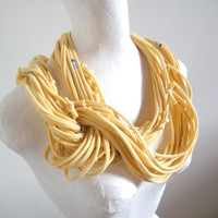 Pale Yellow Infinity Scarf Upcycled Clothing Butter Yellow Circle Scarf Boho Winter Accessories Blue White Stripes Gifts Under 75