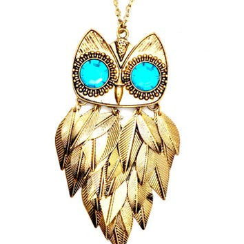 Chandelier Feathered Owl Necklace Turquoise Blue Crystal Eyes ND15 Retro Bird Gold Tone Charm Pendant