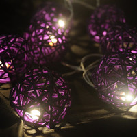 20 x beautiful purple rattan natural light ball party indoor outdoor decoration light hanging ceiling wall