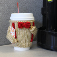 Dr Who coffee cozy. Office decor. Starbucks cup holder. Travel mug cozy. Bow ties are cool. Knitted Doctor Who 11th cozy Beige red bow tie.