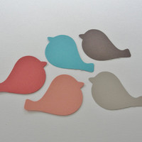 Pink Peach Blue Gray Brown Bird Paper Cut Outs Cutouts Bird Scrapbook Embellishments Tags Decorations  Set of 50