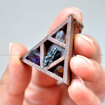 PRE-ORDER Cute Wooden Altar Shelf Series Pendant, Amazing Handmade Jewelly, Crystals, Copper Ring & Copper Chain, Unisex Pendant