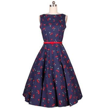 DCCKIHN Cherry Floral Print Summer Dress Women Casual Audrey Hepburn Party Dress Retro Vintage Dresses Temperament Vestidos #A62022