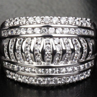 Unique Channel 1.15CT Diamonds Solid 14K White Gold Wedding Band Engagement Ring