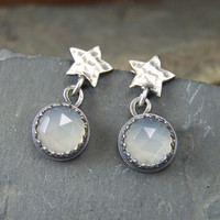 Stars and Moon Dangles - 8mm Rose Cut White Moonstone dangle from Hammered Stars Post Earrings