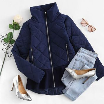 Quilted Peplum Coat